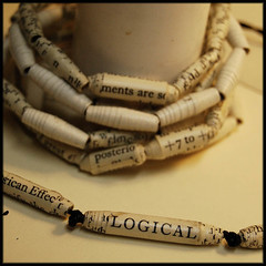 Logical necklace and book bead bracelets