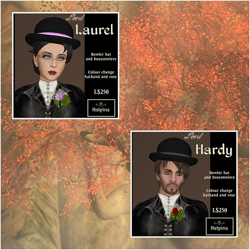 Hatpins - Lords Laurel and Hardy - Bowlers and Boutonnieres
