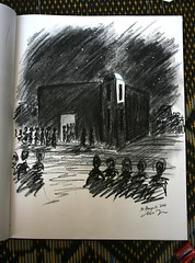 Mosque by night charcoal