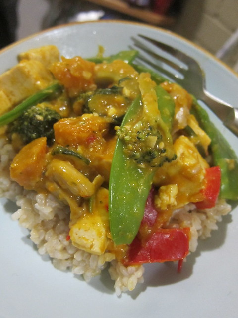 Tofu and veggies in red coconut curry