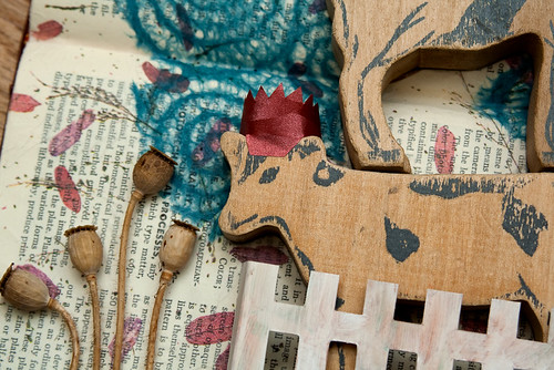 Altered Book: Of Animal Folklore and Fables - detail