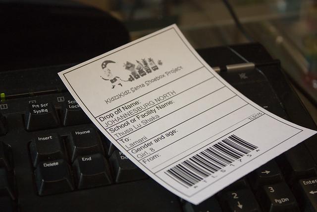 Santa Shoebox label