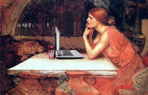 Circe Surfs the Web, after John William Waterhouse