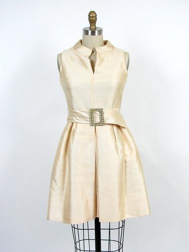 60's raw silk mod dress