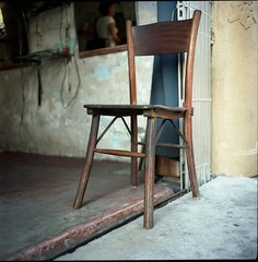 (lcy) Tags: stilllife 6x6 tlr mediumformat chair ishootfilm unesco worldheritagesite squareformat barber nostalgic kodakportra160vc melaka malacca 120mm oldshop c41  vanishingtrade epsonv700 dyingtrade mamiyac330f sekor65mmf35 traditionaltrade malaysia2010