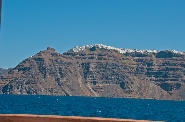 Imerovigli and the Skaros from the sea