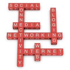 Social networking and internet concept crossword