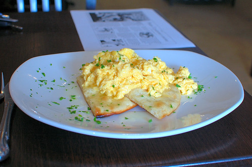 Scrambled Eggs Over Focaccia