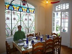 Friedrich am Fruehstueckstisch, Hotel Casa Gonzalez, Mexiko City