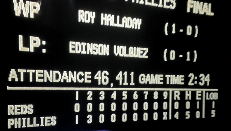Roy Halladay No Hitter Scoreboard