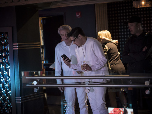 David Byrne and musicians prepare to go on stage at WITNESS' 25th Anniversary Benefit