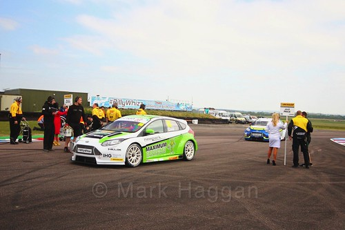 Josh Cook on the grid at the BTCC Thruxton weekend, May 2017
