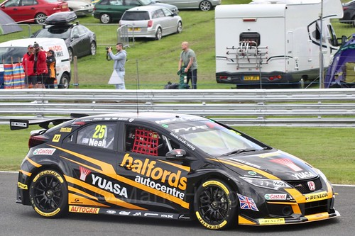 Matt Neal in BTCC action at Oulton Park, May 2017