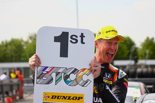 Matt Neal celebrates his BTCC win at Thruxton, May 2017