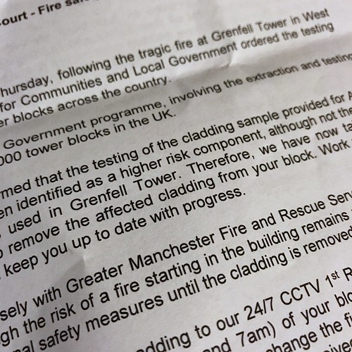 Today is all about...finally being told that there is a fire risk with the flat's cladding