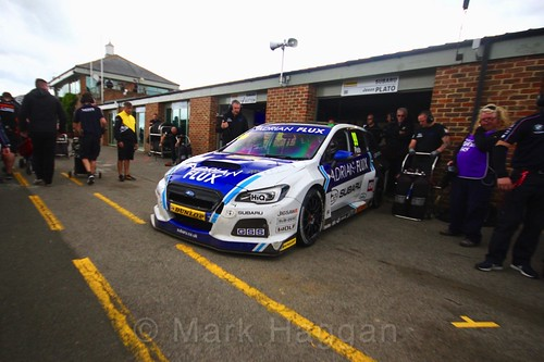 Jason Plato heads out of the garage onto the grid at Croft, June 2017