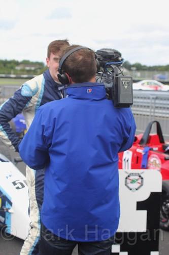 TV interviews after the FF1600 race at Kirkistown, June 2017
