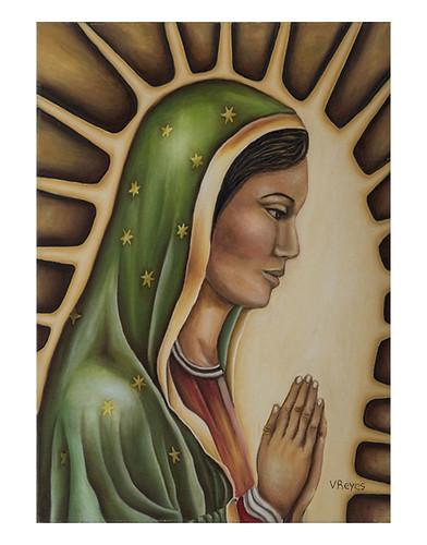 Autor: VICTOR MANUEL REYES PORTILLO, Virgen de Guadalupe  40x50 cm