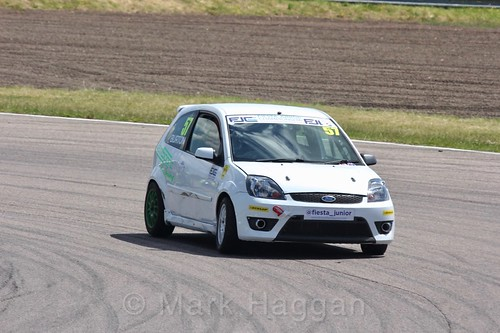 Gustav Burton in the Fiesta Junior championship at Rockingham, June 2017