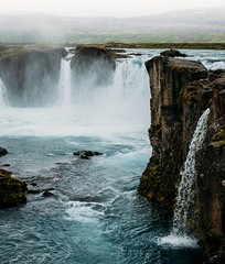 Godafoss, waterfall of the gods, where a thousand years ago the statues of Norse gods were thrown when Christianity was made the official religion of Iceland. The most beautiful waterfalls I've seen. I imagine those Pagan gods had no problem being sent ba