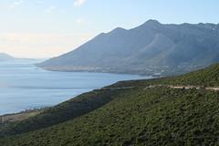 Road cut along the mountain towards Orebic