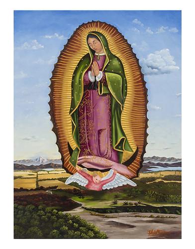 Autor: JOSE LUIS TORICES GUTIERREZ, Virgen de Guadalupe en el valle de México  120x80 cm