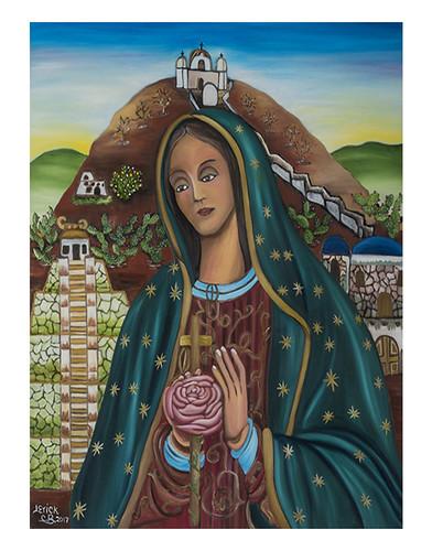 Autor: JOSE ERICK CALVILLO BORJA, Mi Virgen morena del Tepeyac  70x60 cm