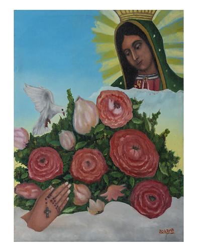 Autor: JOEL RAMOS MAGDALENO, Virgen de Guadalupe intercede por nosotros  62x52 cm