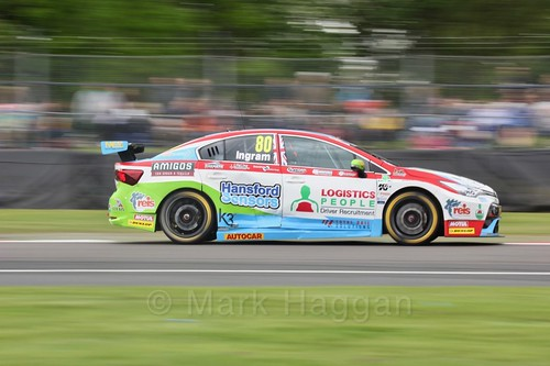 Tom Ingram in BTCC action at Oulton Park, May 2017