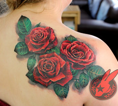 Red Rose Realistic 3d Flower Color Back Tattoo by Jackie Rabbit