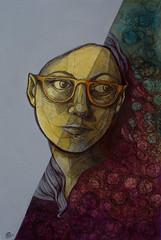 Autoritratto, acrilico, penne e inchiostri, 2017