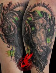 Satanic Evil Metal Goat Ram Voodoo Baphomet Tattoo by Jackie Rabbit
