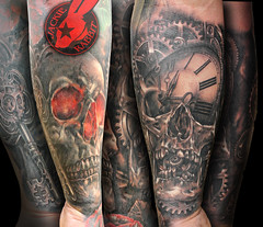 Realistic 3D Skull Skulls key Steampunk Vintage  Gears Clock Watch Color Black and Grey Sleeve Tattoo by Jackie rabbit
