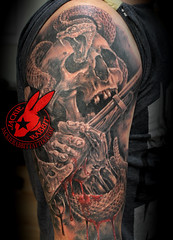 Rattle Snake Skull Antique Rifle Out of my cold dead hands NRA 2nd amendment Sleeve Tattoo by Jackie Rabbit