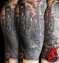 San Francisco City Skyline Cityscape Golden Gate Bridge Tattoo by Jackie Rabbit
