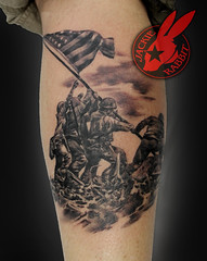 Marines Flag Raising iwo jima Patriotic Military Realistic Photo Tattooby Jackie Rabbit