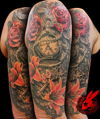 Lace Watch Key Skull Rose lily Flower Realistic 3D Sleeve Tattoo by Jackie Rabbit