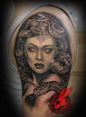 Medusa Snake Woman Portrait Realistic 3D Greek Godess Gorgon Demon Black And Grey Sleeve Tattoo by Jackie Rabbit