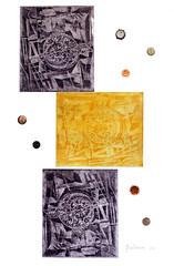 Gina Marziale, IL TEMPO Acquaforte, acquatinta, elemento tridimensionale, (tecnica mista tre stampe a due colori), 2016