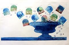 Antonella Parlani, IL VASO DI PANDORA, Monotipo, Acquaforte, Ceramolle, Acquatinta 13 lastre, 1982