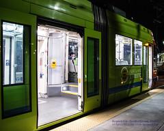 Bright Portland Streetcar Against the Night