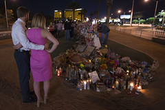 People gather to grieve after the mass shooting in Las Vegas, Nevada, that took 58 lives, October 28, 2017.