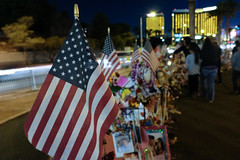 A memorial is set up for the victims of mass shooting in Las Vegas, Nevada