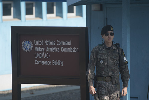 A South Korean soldier patrols in front of the Joint Security Area conference room in the border village of Panmunjom between South and North Korea at the Demilitarized Zone (DMZ) on October 14, 2017 in Panmunjom, South Korea.