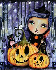 I recorded a Pumpkins & Halloween Witch lesson last year which never got published because: life crazy, but this lesson will be available just in time for Halloween this year! :) Isn't she a super cute witchy girl with her cute cat friend, quirky pumpkins