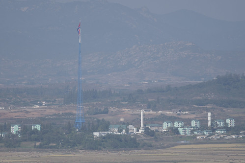 North Korean Gijungdong propaganda village with giant 160m flagpole, visible from Dora Observatory in South Korea near the DMZ, October 13, 2017