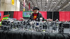 Colin Cantwell, the Designer of the Death Star, admiring KC Brick Lab's community build inspired by his work!