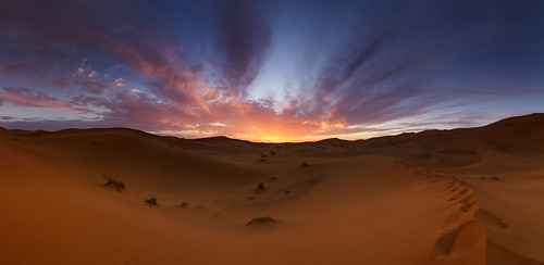 Abendrot in der Sahara - Panorama