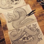 Homework for this week. Done a shitload on iPad but there's nothing like using a pen, pencil and paper. One of these is going down tomorrow at Far Beyond, Luton #snake #backpiece #blackandgreytattoo #japanese