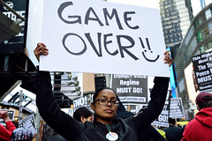 """""""November 4, it begins"""": Refuse Fascism rally and march: Times Square, New York N.Y., Saturday, November 4, 2017."""